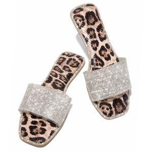 Just In! 💍💎Deluxe Rhinestone Sandal - Leopard